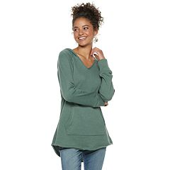 Juniors' SO® High-Low Solid Fleece Tunic Hoodie