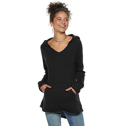 Juniors' SO® High-Low Solid Fleece Tunic Hoodie