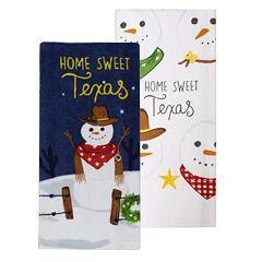 St. Nicholas Square® Texas Snowman Kitchen Towel 2-pack