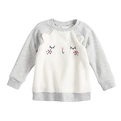 Baby Girl Jumping Beans® Embroidered Cat Plush Pullover