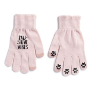"""Women's SO® """"Paw-Sitive Vibes"""" Tech Knit Gloves"""