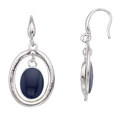 Blue Bead Oval Drop Earrings