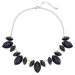 Navy Teardrop Bib Statement Necklace