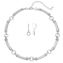 Napier Silver Tone Circle Link Necklace & Drop Earring Set