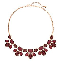 Red Cabochon Bib Statement Necklace