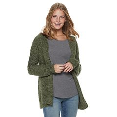 Juniors' Mudd® Boucle Hooded Cardigan