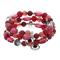Silver Tone Red Bead Coil Bracelet