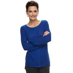 Women's Dana Buchman Mixed-Stitch Scoopneck Sweater
