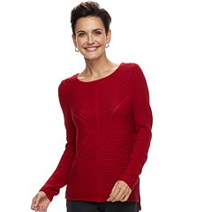 Women's Dana Buchman Mixed-Stitch Scoopneck Sweater