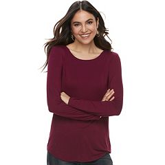 Petite Apt. 9® Essential Long Sleeve Crewneck Top