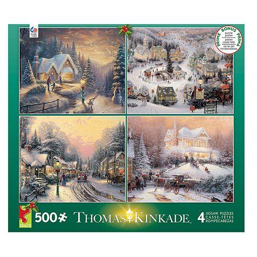 Ceaco Thomas Kinkade 500-piece Christmas Puzzle 4-piece Set