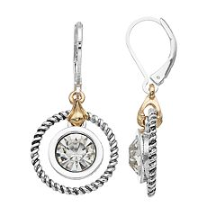 Napier Two Tone Simulated Crystal Hoop Drop Earrings