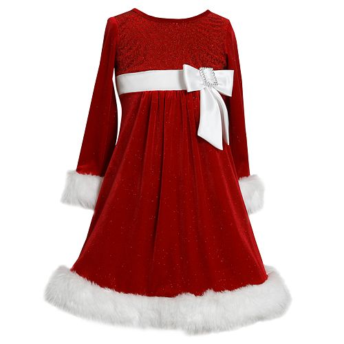 Girls 7-16 & Plus Size Bonnie Jean Sparkle Velvet Santa Dress