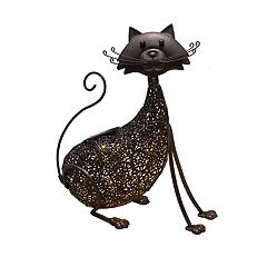 Solar Powered LED Cat Garden Decor