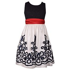 Girls 7-16 & Plus Size Bonnie Jean Glitter Red Bow Dress