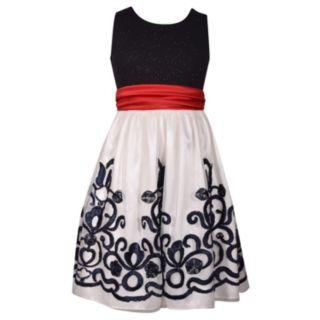 Girls 7-16 & Plus Size Bonnie Jean Glitter Red Bow Dress