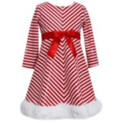 Girls 7-16 & Plus Size Bonnie Jean Striped Santa Dress