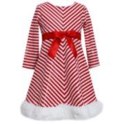 Girls 7-16 & Plus Size Bonnie Jean Striped Santa Dress