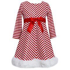 937905934049 Girls 7-16 & Plus Size Bonnie Jean Striped Santa Dress