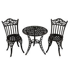 Ornate Indoor / Outdoor Chair & Bistro Table 3-piece Set