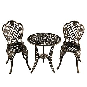 Ornate Rose Indoor / Outdoor Chair & Bistro Table 3-piece Set