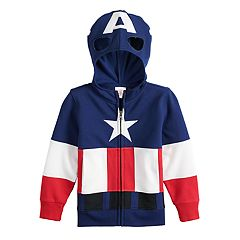 Toddler Boy Marvel Captain America Mask Costume Zip Hoodie