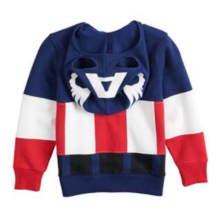 Toddler Boy Marvel Captain America Mask Costume Zip Hoodie