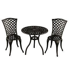 Contemporary Lattice Indoor / Outdoor Chair & Bistro Table 3-piece Set