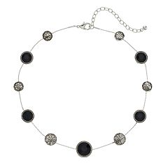Napier Black & Filigree Circle Necklace