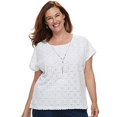 Plus Size Alfred Dunner Studio Lace Top
