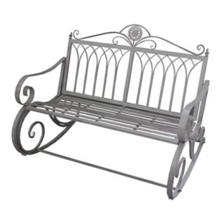 Traditional Ornate Indoor / Outdoor Rocking Loveseat Bench