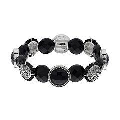 Napier Black Circle Link Stretch Bracelet
