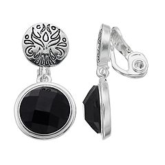 Napier Triple Black Double Circle Clip On Earrings