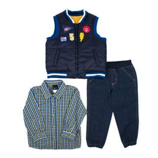 Toddler Boy Little Rebels Vest, Plaid Shirt & Jeans Set