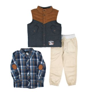 Toddler Boy Little Rebels Vest, Shirt & Pants Set