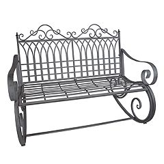 Traditional Indoor / Outdoor Gray Rocking Loveseat Bench