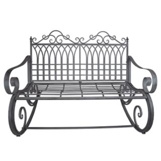 Traditional Indoor / Outdoor Gray Rocking Loveseat Bench