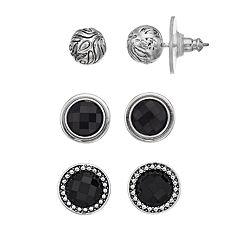 Napier Black Circle & Ball Stud Earring Set