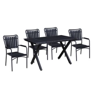 Indoor / Outdoor Slatted Rectangular Dining Table & Stacking Chair 5-piece Set