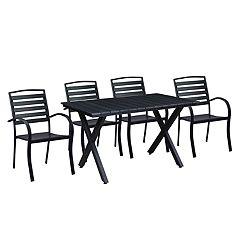 Indoor / Outdoor Rectangular Dining Table & Stacking Chair 5-piece Set