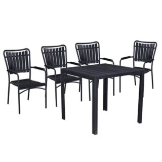 Indoor / Outdoor Slatted Square Dining Table & Stacking Chair 5-piece Set