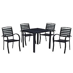 Indoor / Outdoor Square Dining Table & Slatted Stacking Chair 5-piece Set