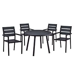 Indoor / Outdoor Round Dining Table & Stackable Chair 5-piece Set