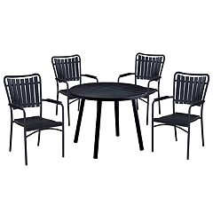 Indoor / Outdoor Slatted Round Dining Table & Stacking Chair 5-piece Set
