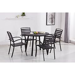 Indoor / Outdoor Round Dining Table & Slatted Stackable Chair 5-piece Set