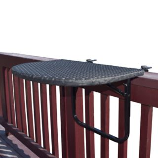 Outdoor Clamp-On Foldable Wicker Deck Table