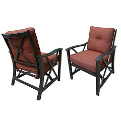 Indoor / Outdoor Cushioned Spring Seat Arm Chair 2-piece Set