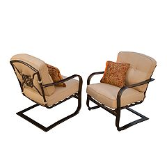 Indoor / Outdoor Spring Seat Arm Chair & Throw Pillow 4-piece Set
