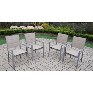 Indoor / Outdoor Sling Seat Stacking Arm Chair 4-piece Set