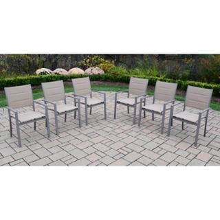 Indoor / Outdoor Sling Seat Stacking Arm Chair 6-piece Set